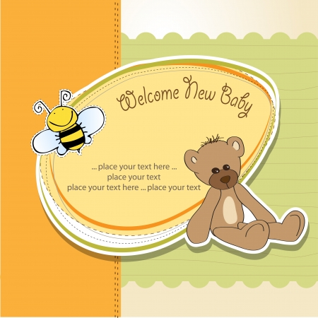 announcements: cartoon baby shower card with teddy bear Illustration