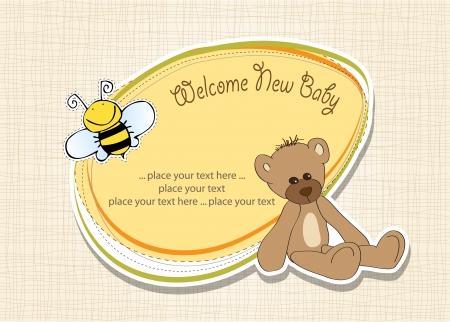 cartoon baby shower card with teddy bear Stock Vector - 15540805