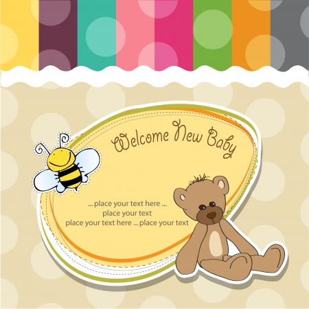 welcome baby: cartoon baby shower card with teddy bear Illustration