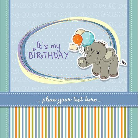nestling: baby boy birthday card with elephant and balloons Illustration