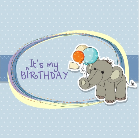 baby toy: baby boy birthday card with elephant and balloons Illustration