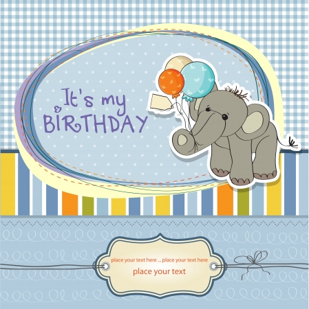 Baby Boy Birthday Card With Elephant And Balloons Royalty Free