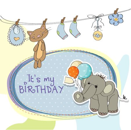 specifically: baby boy birthday card with elephant and balloons Illustration