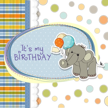 baby boy birthday card with elephant and balloons Stock Vector - 15588458