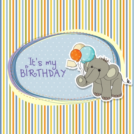 baby boy birthday card with elephant and balloons Stock Vector - 15588446