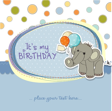 birthday boy: baby boy birthday card with elephant and balloons Illustration