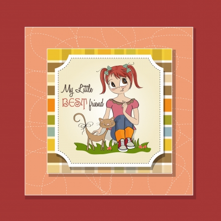 little girl and her cat are best friends Stock Vector - 15710053
