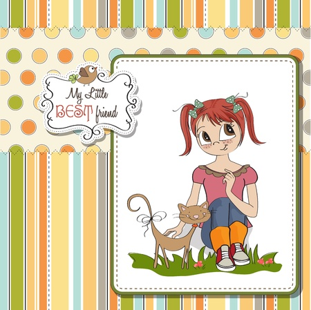 little girl and her cat are best friends Stock Vector - 15710054