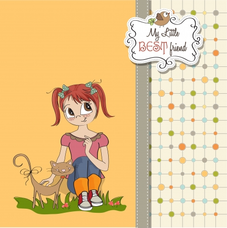 little girl and her cat are best friends Stock Vector - 15710055