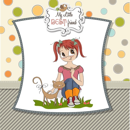 little girl and her cat are best friends Stock Vector - 15710050
