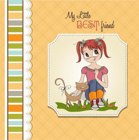 little girl and her cat are best friends Stock Vector - 15710060