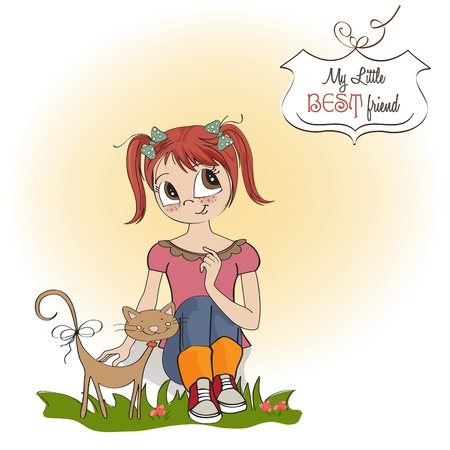 little girl and her cat are best friends Stock Vector - 15710061