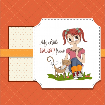 little girl and her cat are best friends Stock Vector - 15710059
