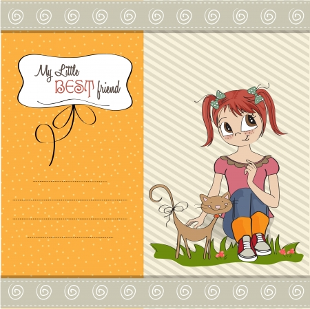little girl and her cat are best friends Stock Vector - 15710052