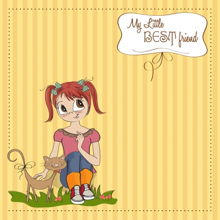 little girl and her cat are best friends Stock Vector - 15710049