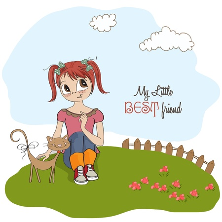little girl and her cat are best friends Vector