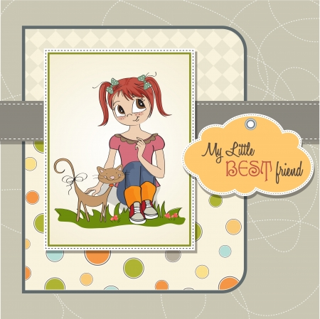 little girl and her cat are best friends Stock Vector - 15710056