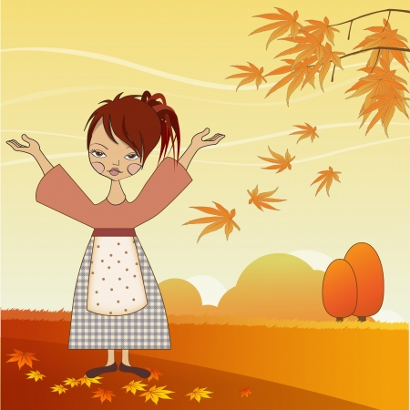 country side: young girl with autumn leaves