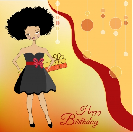 happy birthday girl: pretty young woman with gift box