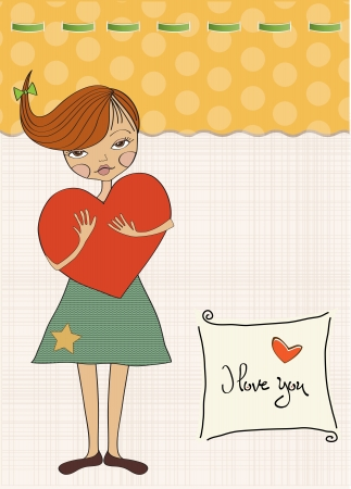 to adore: romantic young girl with big heart Illustration