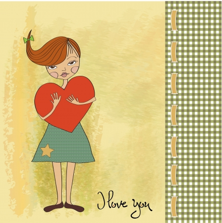 pensiveness: romantic young girl with big heart Illustration