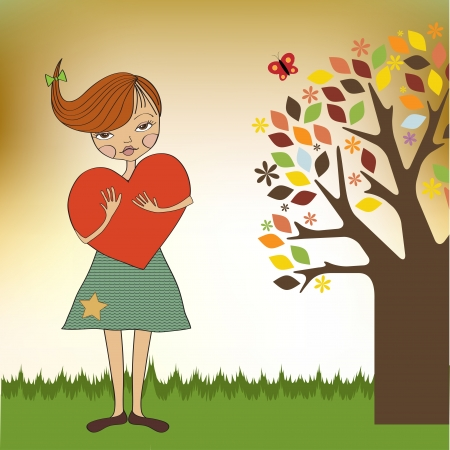 children s: romantic young girl with big heart Illustration