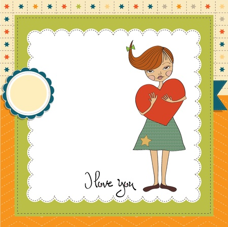 romantic young girl with big heart Stock Vector - 15806864
