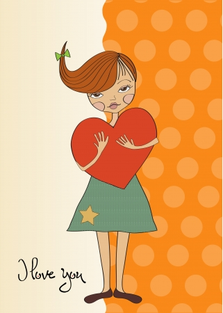 women s day: romantic young girl with big heart Illustration