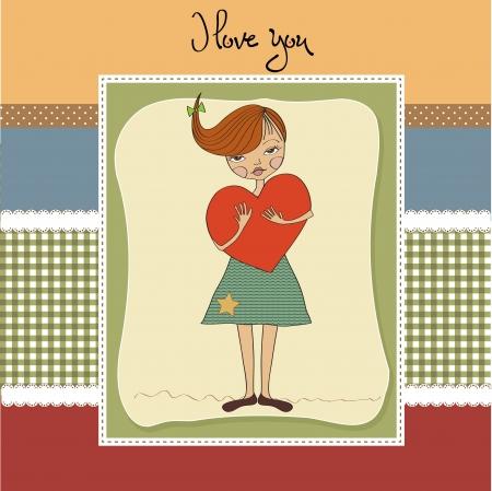 pensiveness: romantico giovane ragazza con grande cuore