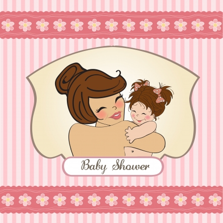 mother holding baby: pretty young mother holding a new baby girl