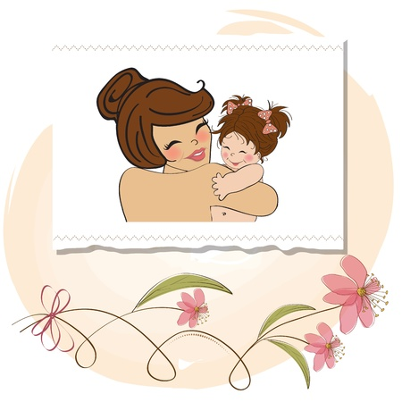 childcare: pretty young mother holding a new baby girl