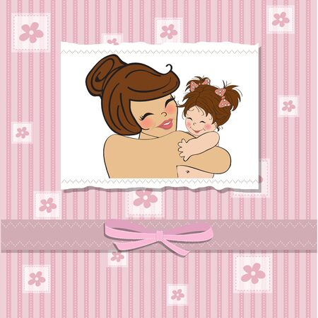 woman shower: pretty young mother holding a new baby girl