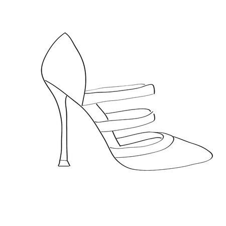 Shoes on a high heel isolated on white background Stock Vector - 15841231