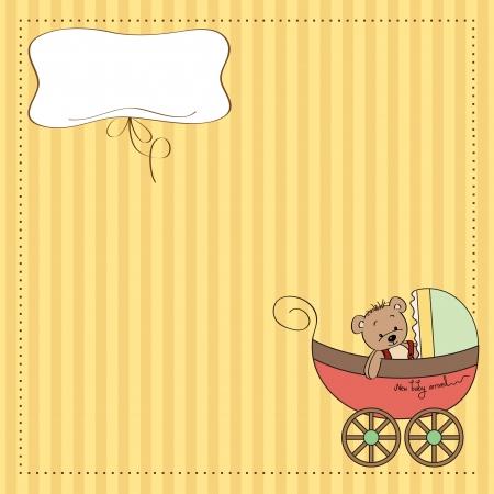 funny teddy bear in stroller, baby announcement card Vector