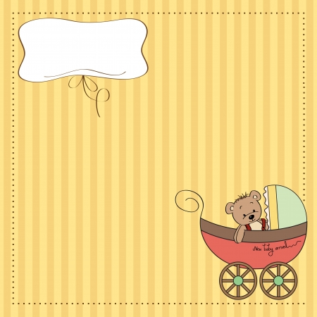stroller: funny teddy bear in stroller, baby announcement card
