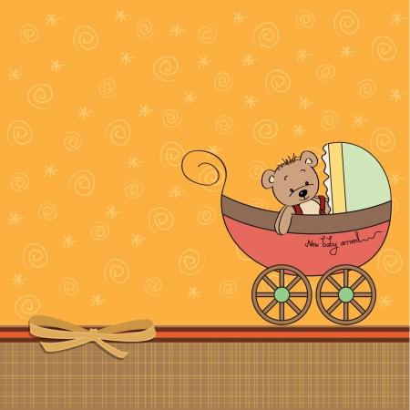 cute cartoon kids: funny teddy bear in stroller, baby announcement card
