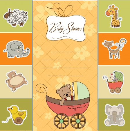 carriage: funny teddy bear in stroller, baby announcement card