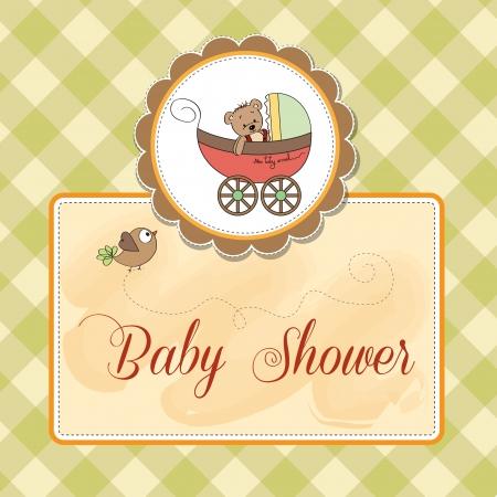 funny teddy bear in stroller, baby announcement card Stock Vector - 15938167