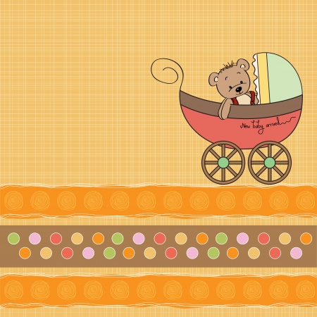 special event: funny teddy bear in stroller, baby announcement card