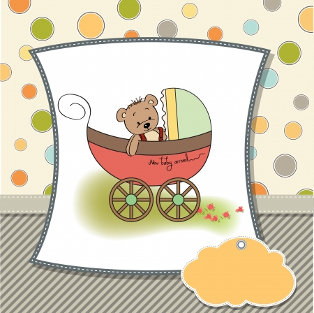 pram: funny teddy bear in stroller, baby announcement card