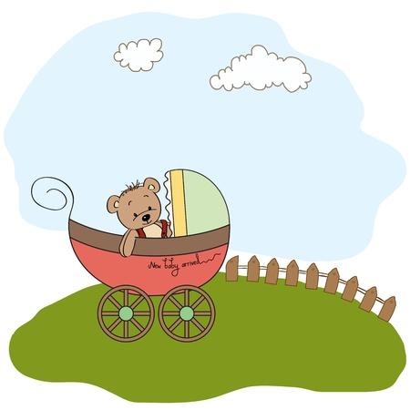 birth announcement: funny teddy bear in stroller, baby announcement card