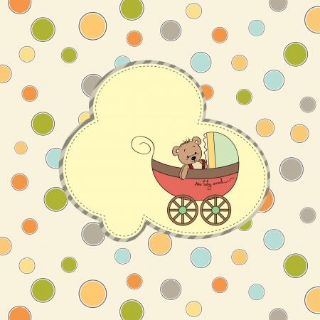 baby stroller: funny teddy bear in stroller, baby announcement card