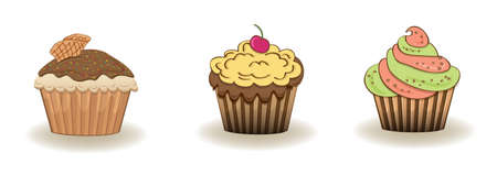 cupcakes isolated: Set of 3 cute cupcakes isolated on white background Illustration