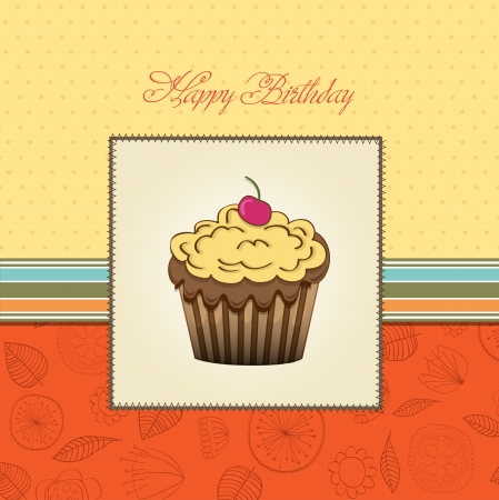 cute happy birthday card with cupcake  vector illustration Stock Vector - 16015941