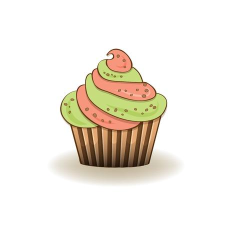 whipped: Birthday cupcake, Isolated On White Background Illustration