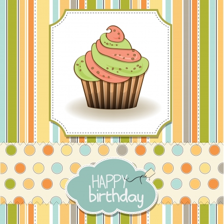 cute happy birthday card with cupcake  vector illustration Illustration
