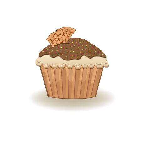 homemade cake: Birthday cupcake, Isolated On White Background Illustration