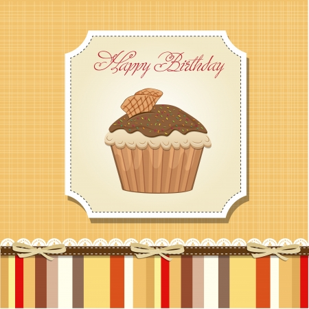 cute happy birthday card with cupcake  vector illustration Stock Vector - 16015939
