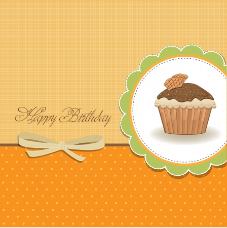 cute happy birthday card with cupcake  vector illustration Stock Vector - 16015940