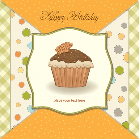 cute happy birthday card with cupcake  vector illustration Stock Vector - 16015945